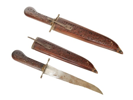 hilt: Old indian dagger with wooden engraved hilt and sheath