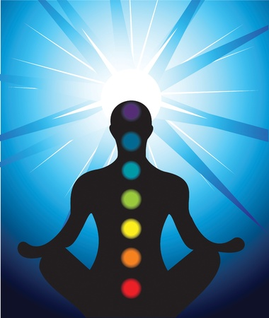 brain mysteries: Vector illustration of male silhouette meditating with chakra