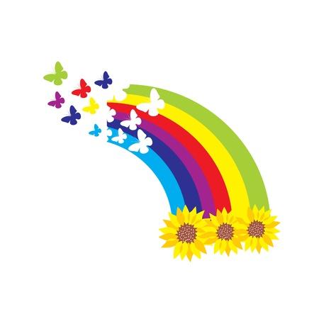 Sunflowers, rainbow and butterflies Illustration
