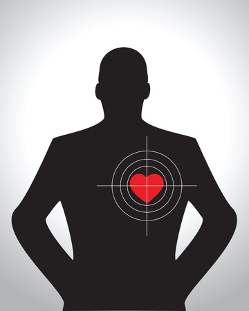 Male silhouette with target aimed at heart Stock Vector - 12131093