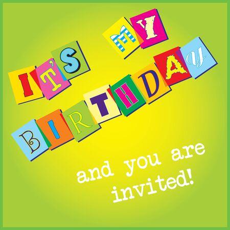 Illustration template for birthday invitation
