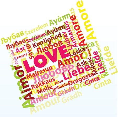 different shapes: Word love in many different languages