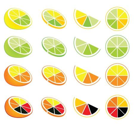 logotipos de limón y naranja y los iconos