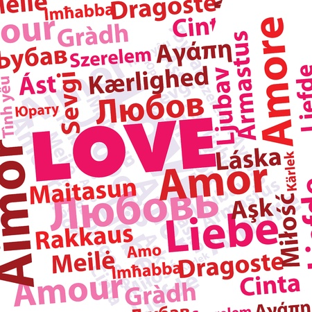 Word love in many different languages in pink and red colors Vector