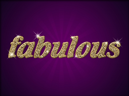 Word fabulous in gold style on purple background Standard-Bild