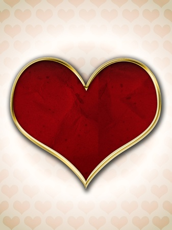 Red heart with gold frame over heart pattern background photo
