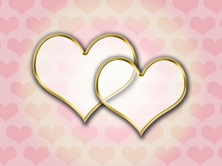 Hearts with gold frame over heart pattern background