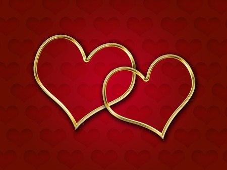 Red hearts with golden edges over red gradient background