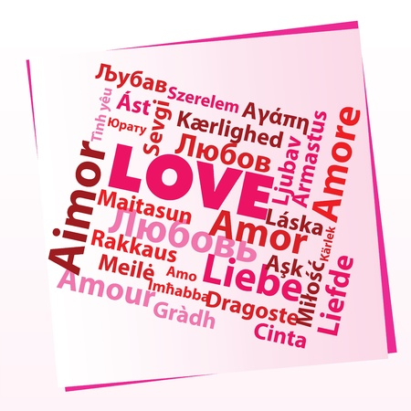 word love in many different languages Stock Photo