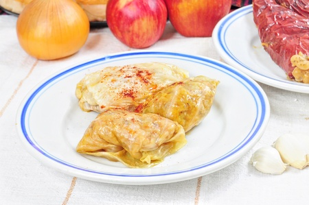Traditional lenten dish from the Balkans - cabbage rolls with rise sarma