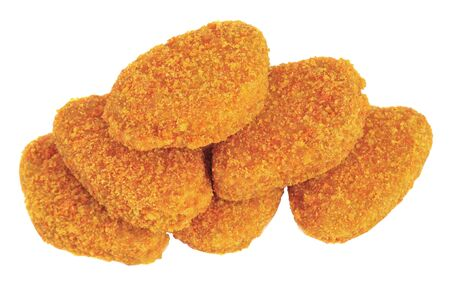 Pile of chicken nuggets isolated on white background
