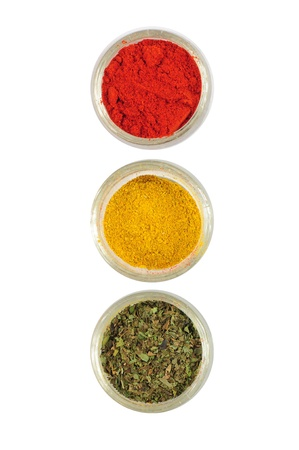 Spices arranged as traffic lights, depicting attention - spicy food photo