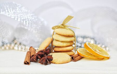 Christmas ginger cookies with decoration photo