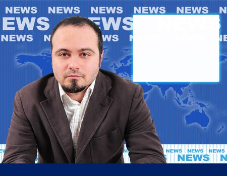 Male news presenter in blue studio, space for picture on the side photo