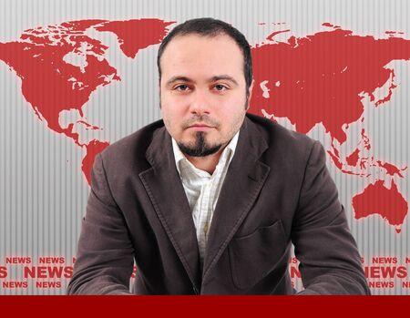 Male news presenter in red studio photo