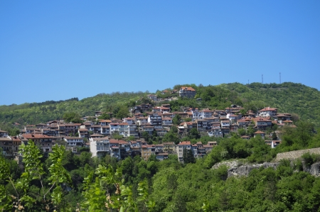 Typical bulgarian architecture from the town of Veliko Turnovo Stock Photo