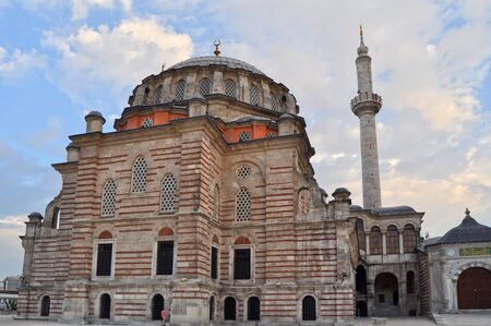 Laleli mosque in Istanbul over blue sky