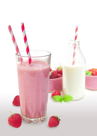 Strawberry smoothie in glass photo