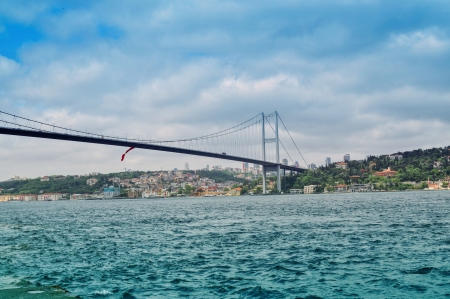 bosporus: Bridge over Bosphorus in Istanbul, Turkey Stock Photo