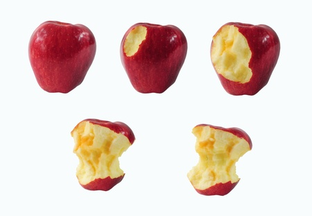 consummation: Five stages of eating an apple isolated on white