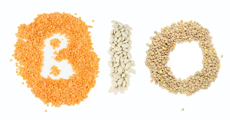 Red lentils, beans and lentils seeds forming word Bio