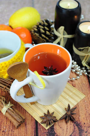Herbal tea in cup seasoned with anise