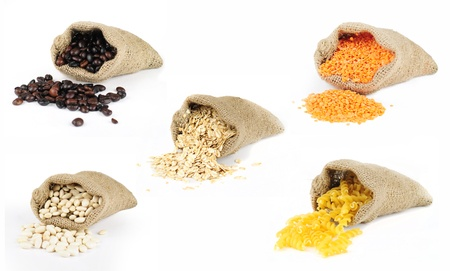 Selection of grains scattered from burlap bags on white background