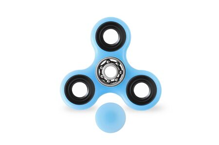 Blue fidget spinner popular toy on white background with opened cap, mechanism visible
