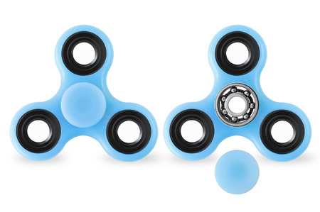 Two blue fidget spinners on white background with closed and opened cap
