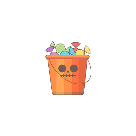 Halloween holiday  icon, Pumpkin candy bag