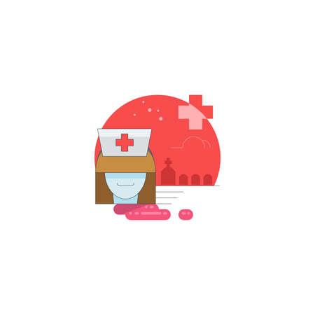 Icona di festa di Halloween, icona di infermiera Wampire