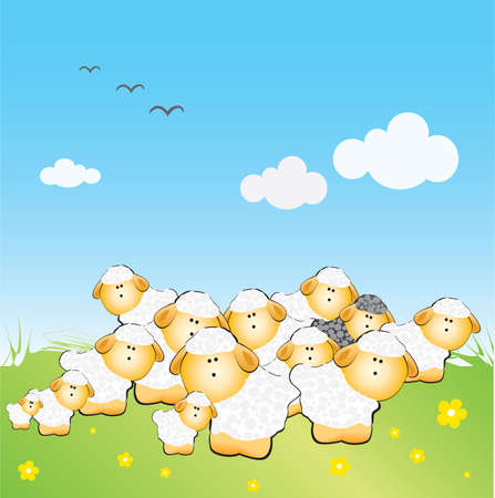 lamb cartoon: The herd of sheeps with one black sheep on the grass Illustration