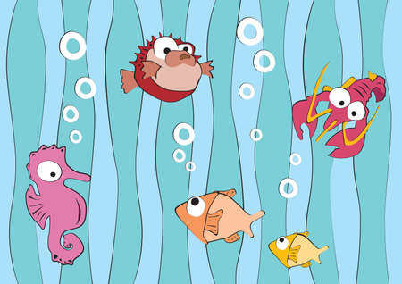 aquatic reptile: Funny sea creatures, lobster, fishes, dragonfly hidingh in the seaweed