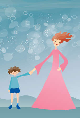 mother and son holding hands on turquoise background Stock Illustratie