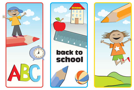 Three colorful labels back to school with happy kids and school accessories Illustration