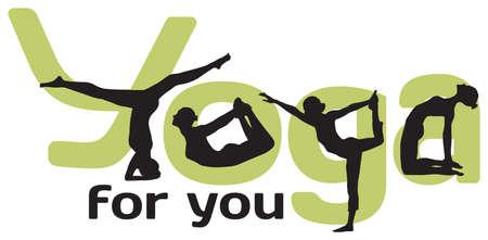 Logotype pour le yoga avec des silhouettes des positions et des lettres vertes sur fond blanc Banque d'images - 15094517