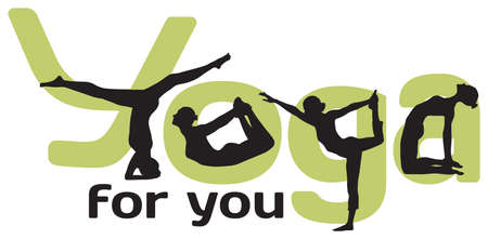 Logotype for yoga with silhouettes of positions and green letters on the white background