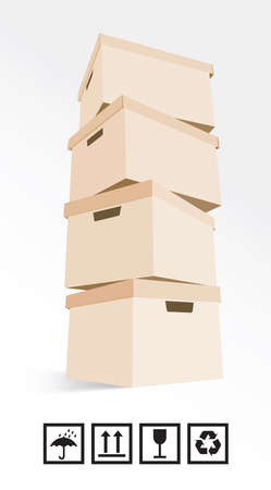 Cardboard boxes on white background plus signs