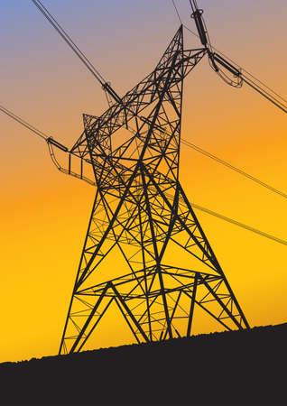 Transmission line silhouette at sunset Stock Illustratie