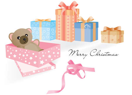 baby open present: Opened gift with Teddy Bear inside and other unopened Christmas gifts on the white background and the untied ribbon Illustration