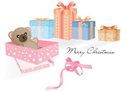 untied: Regalo abierto con el oso de peluche por dentro y por otros sin abrir los regalos de Navidad en el fondo blanco y la cinta desat�