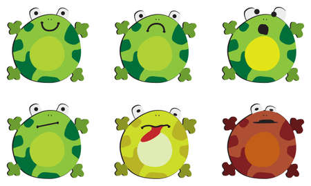 Six drawings of the frog on white background, showing different emotions Illustration