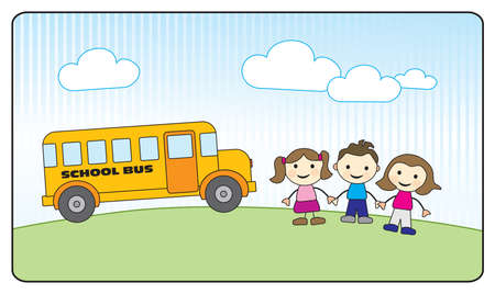 leaving: Drie schoolkinderen hand in hand en gele schoolbus, buiten