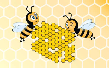 Two sweet looking happy bees holding honeycomb on yellow background