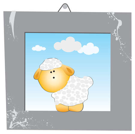 The white sheep in the gray picture frame Vector