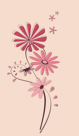 Abstract floral sample for various application on beige background