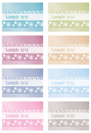 Floral labels in eight colours Vector