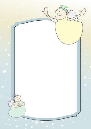 cartoon frame: Template with two funny angels with yellow and green background