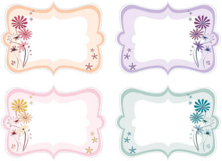 Four floral labels in different colours; orange, purple, pink and bluegreen