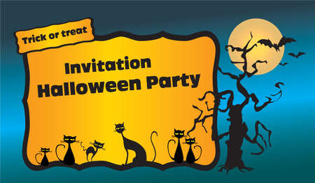 Halloween party invitation with black cats, bats and spooky tree Illustration